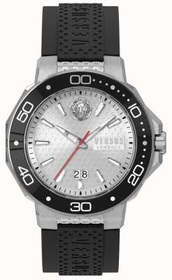 Versus Versace Męski czarny silikonowy pasek kalk bay srebrna tarcza vSP05010018