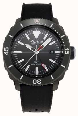 Alpina Męski czarny gumowy pasek seastrong Diver GMT AL-247LGG4TV6