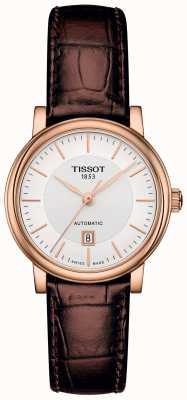 Tissot Damski autorski automatyczny brązowy skórzany pasek z pozłacanego złota T1222073603100