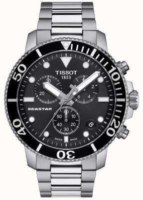 Tissot Męski zegarek kwarcowy seastar 1000 czarny / stal nierdzewna T1204171105100