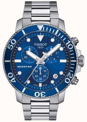 Tissot Męski zegarek kwarcowy seastar 1000 niebieski / stal nierdzewna T1204171104100