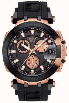 Tissot Męski kwarcowy chronograf z czarną tarczą t-race z pozłacanymi akcentami T1154173705100