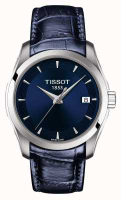 Tissot Damski couturier niebieski skórzany pasek z niebieską tarczą T0352101604100