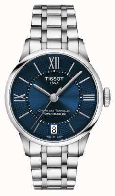 Tissot Chemin des tourelles powermatic 80 niebieska tarcza ze stali nierdzewnej T0992071104800