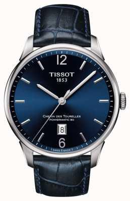 Tissot Mężczyzna chemin des tourelles niebieski skórzany pasek niebieska tarcza T0994071604700