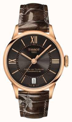 Tissot Damski chemin des tourelles brązowy skórzany pasek czarna tarcza T0992073644800