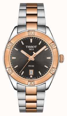 Tissot Damski sportowy szyk PR 100 36 mm dwukolorowa czarna tarcza T1019102206100