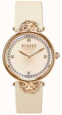 Versus Versace Damski victoria port kremowy skórzany pasek z różową tarczą VSP33130018