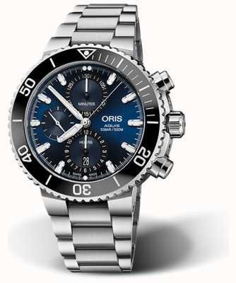 ORIS Aquis Date chronograf z niebieską tarczą ze stali nierdzewnej 01 774 7743 4155-07 8 24 05 PEB