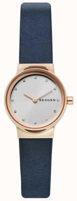 Skagen Damski zegarek Freja, niebieski skórzany pasek, srebrna twarz SKW2744