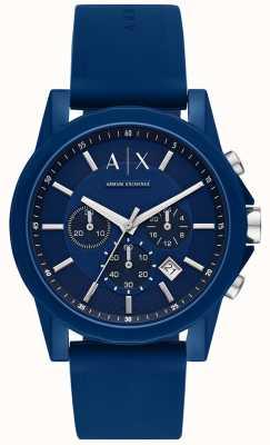 Armani Exchange Zestaw upominkowy męski zegarek sportowy   niebieski silikonowy pasek   AX7107