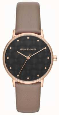 Armani Exchange Damska sukienka na wymianę Armani, zegarek z brązowym skórzanym paskiem AX5553