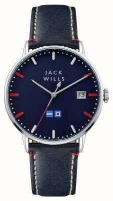 Jack Wills Męski błękitny błękitny tarcza wybiera błękitnego rzemiennego pasek JW002BLSS