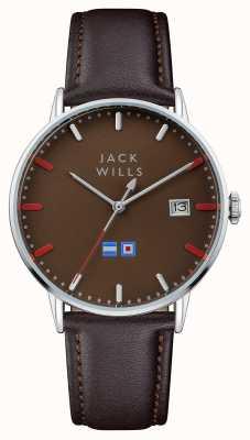 Jack Wills Męski brązowy brązowy skórzany pasek z brązowym tarczą JW002BRBR