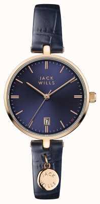 Jack Wills Damski niebieski niebieski skórzany pasek wybierania JW005BLRG