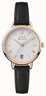 Jack Wills Damski zegarek onslow biały czarny skórzany pasek JW006BKRS
