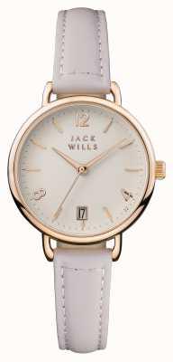 Jack Wills Damski krem onslow dial różowy skórzany pasek JW006PKRS