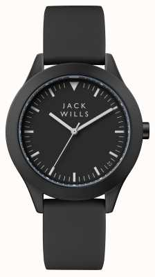 Jack Wills Damska czarna czarna tarcza z czarnym silikonowym paskiem JW008BKBK