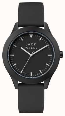 Jack Wills Męska czarna czarna tarcza z czarnym silikonowym paskiem JW009BKBK
