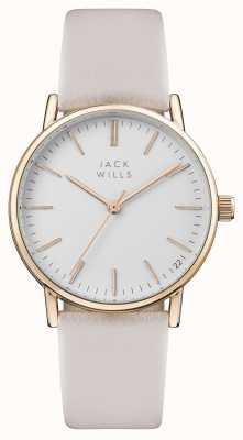 Jack Wills Damski biały skórzany pasek wybierania w kolorze różowym JW013PKRS