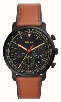 Fossil Męski chronograf brązowy skórzany czarny ze stali nierdzewnej tarcza FS5501