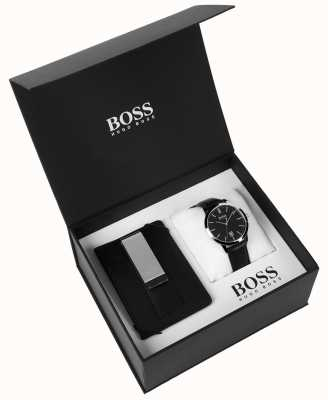 Hugo Boss Męskie pudełko zestaw pieniądze klip klasyczna czarna tarcza czarna skóra 1570065