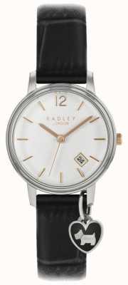 Radley Damski mały zegarek srebrna obudowa z czarnym paskiem RY2717