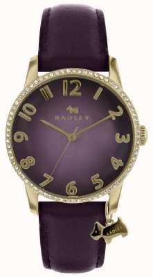 Radley Purpurowy zegarek damski ze złotym etui RY2726