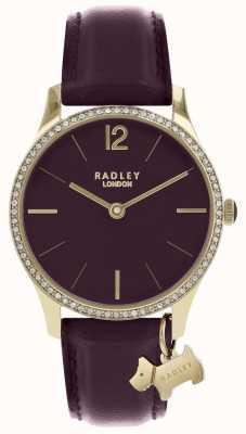 Radley Zegarek damski, fioletowy, skórzany pasek, złoty futerał RY2708
