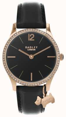 Radley Damski czarny satynowy zegarek RY2704