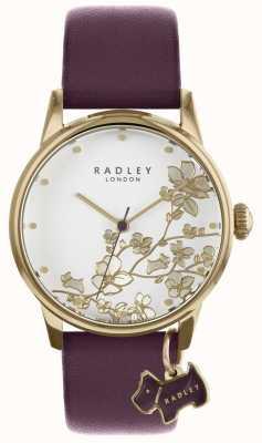 Radley Panie oglądają fioletowy skórzany pasek w kwiaty RY2688