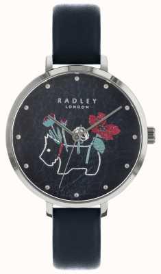 Radley Panie kwiatowy i pies drukują czarny zegarek RY2681