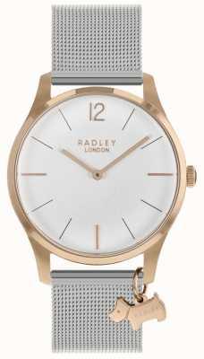 Radley Zegarek damski z różowego złota, srebrny pasek z siatki RY4355
