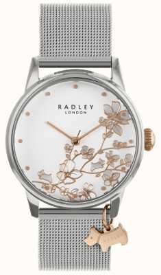 Radley Zegarek damski z srebrną bransoletką z siatki białej tarczy RY4347
