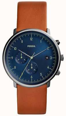 Fossil Męski pościg zegarka brązowy skórzany pasek niebieska tarcza FS5486