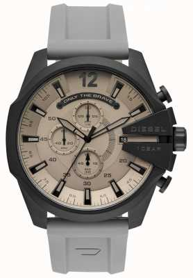Diesel Męski mega główny zegarek szary pasek z tworzywa sztucznego szara tarcza DZ4496