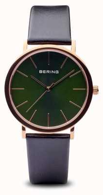 Bering Klasyczny | polerowany, różowo-złoty, czarny pasek 13436-469
