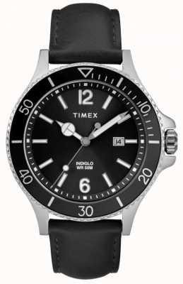 Timex | męskie | indiglo harbourside | czarna tarcza | czarna skóra | TW2R64400D7PF