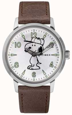 Timex Snoopy welton, srebrny skórzany pasek w kolorze brązu TW2R94900