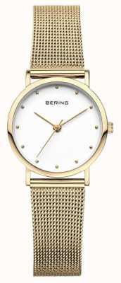 Bering Klasyczny zegarek damski ze złotej siatki 13426-334