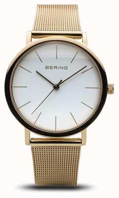Bering Klasyczny zegarek damski ze złotej siatki 13436-334