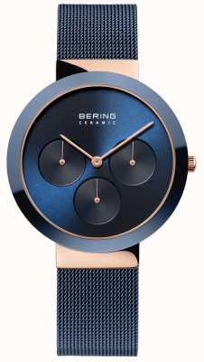 Bering Ceramiczny | polerowane różowe złoto | niebieska tarcza 35036-367