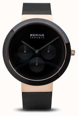 Bering Ceramiczny | polerowane różowe złoto | czarna tarcza 35040-166