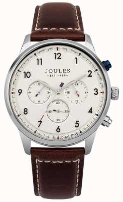 Joules Męski brązowy skórzany pasek z chronografem JSG007BR