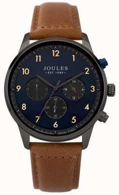 Joules Męski brązowy skórzany pasek z niebieską tarczą chronografu JSG007TB