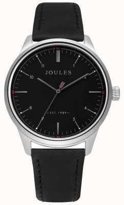 Joules Męski czarny skórzany pasek z matową czarną tarczą JSG002B