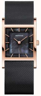 Bering Czarna damska bransoletka z siatki czarna tarcza perłowa 10426-166-S