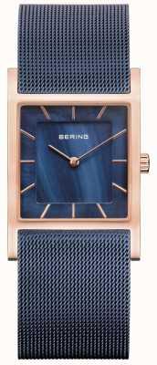 Bering Niebieska bransoletka z siatki niebieska tarcza z masy perłowej 10426-367-S