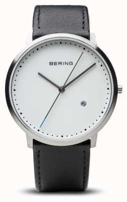 Bering Czarny skórzany pasek unisex z białą tarczą 11139-404
