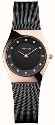 Bering Damska czarna bransoleta z czarnej tarczy 11927-166